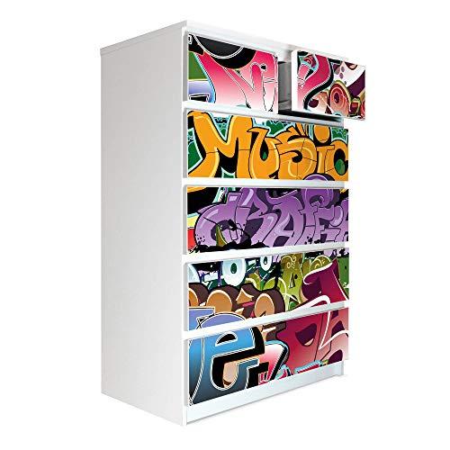 banjado Möbelaufkleber passend für IKEA Malm Kommode 6 Schubladen   Selbstklebende Möbelfolie   Sticker Tattoo perfekt für Wohnzimmer und Kinderzimmer   Klebefolie Motiv Graffiti