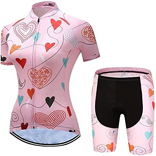 Conjunto de Maillot de Ciclismo para Mujer, Conjunto De Maillot De Ciclismo for Mujer De Manga Corta Y Pantalones Cortos De Bicicleta Acolchados En 3D (Color : D, Size : M)