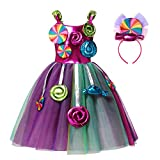 Girls Candyland Rainbow Tulle Dresses Costume Birthday Pageant Dress Up with Headband (Candy Costume, 9-10 Years)