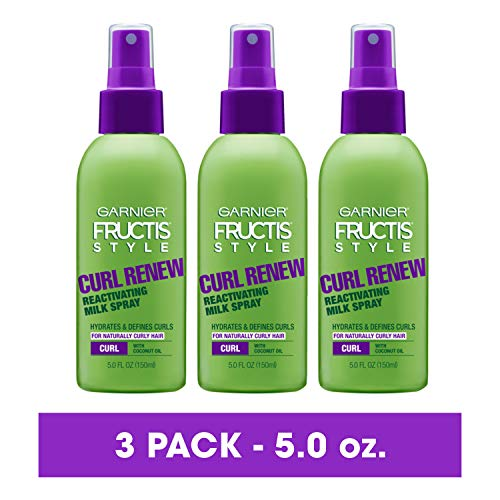Garnier Fructis Style Curl Renew Reactivating Milk Spray For Curly Hair, 5 Ounce (Pack of 3) (Packaging May Vary)