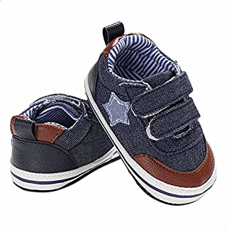 Mix and Max Pull-Tab Star-Patch Low-Top Velcro-Strap Shoes for Boys - Navy, 0-6 Months