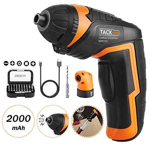 TACKLIFE SDP51DC Cordless Rechargeable Screwdriver, 4.0V MAX 2.0Ah Li-ion Torque 4N.m LED light, 31pcs Driver Bits, USB Charging Cable, for Mounting Furniture such as Shelves and Mini-blind
