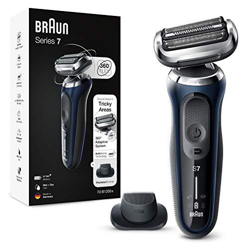Braun Series 7 70-B1200s Rasoio Elettrico Barba senza Fili con Testina Completamente Flessibile e Rifinitore di Precisione, Wet&Dry, Ricaricabile, Argento