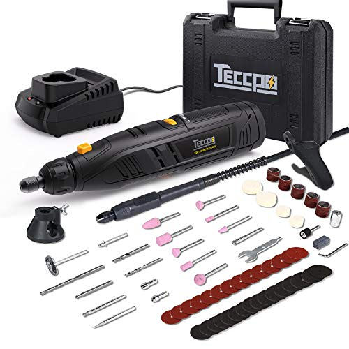 TECCPO Drehwerkzeug, kabellos, 12 V, mit Ladegerät, 5000 – 28000 U/min, einstellbare Geschwindigkeiten, 4 Anpassungen 80 Zubehörteile zum Schneiden, Schleifen, Bohren, Reinigen