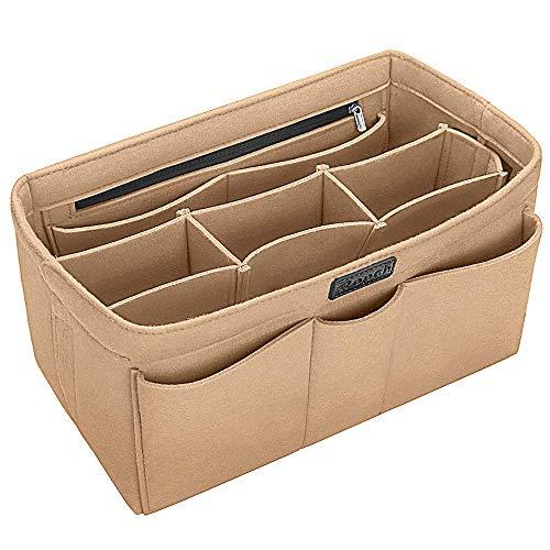 バッグインバッグ リュック用 トート 自立 収納整理 大容量 軽量 フェルト インナーバッグ インナーポケット 収納力抜群 仕分け 小物整理 出勤 旅行 メンズ レディース bag in bag (12ポケット) (M, ベージュ)