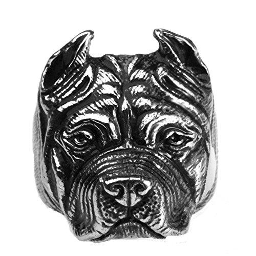 SonMo Herren Ringe Bulldogge Hund Edelstahlring Eheringe Herren Siegelring Schwarz Silber Ringe Herren Gothic Größe:54 (17.2)