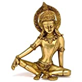 Pink-Lotus Sitting God Indra Dev Brass Statue
