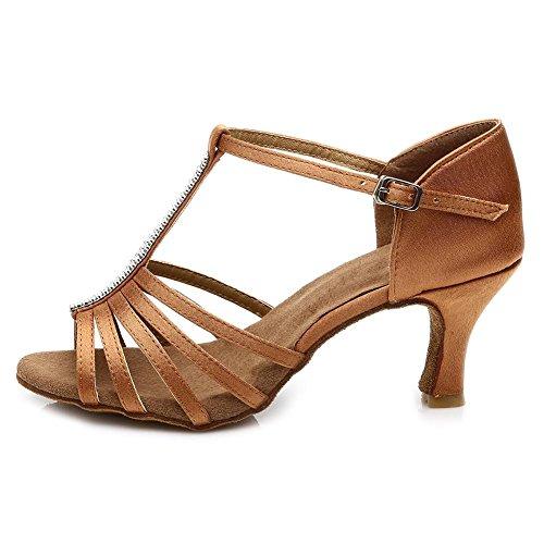 HROYL Mujer Zapatos de Baile Latino Satin Salón de Baile 227 Marrón 39 EU