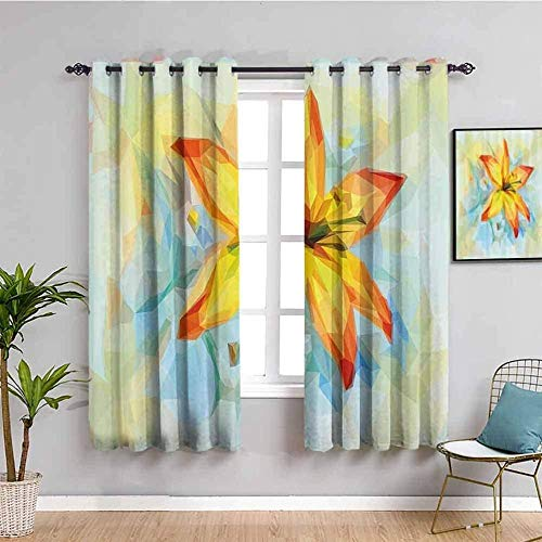 ZLYYH Blackout Curtains for Bedroom Abstract plant yellow flower W52'xL84'(26'x84'x2 panels) 3D Blackout Curtains Thermal Insulated Opaque Reduce Noise-Family Hostel Baby Room Christmas Holiday Decora