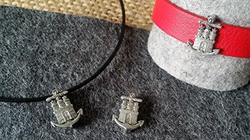 Anhänger ANKERwappen Hamburg , histotisches Motiv, Zinn, Souvenir, kostenloses Lederband