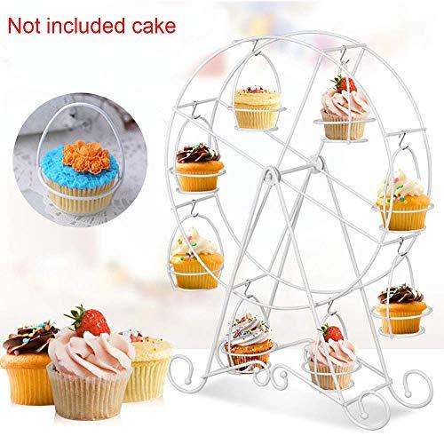 Noria Rueda Diseño 8 Cupcakes Expositor Pastel Soporte Muffins Postre Bandeja para Fiestas Cumpleaños Canastillas Fiesta Boda Suministros - Blanco, Tamaño Libre