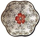 Platos de aperitivo Juego de 6 platos de salsa de soja de estilo japonés, plato de flores de cerámica para el hogar que sirve para albóndigas, guarnición, sushi * 10 * 2,8 * 5,3 cm) Platos de salsa