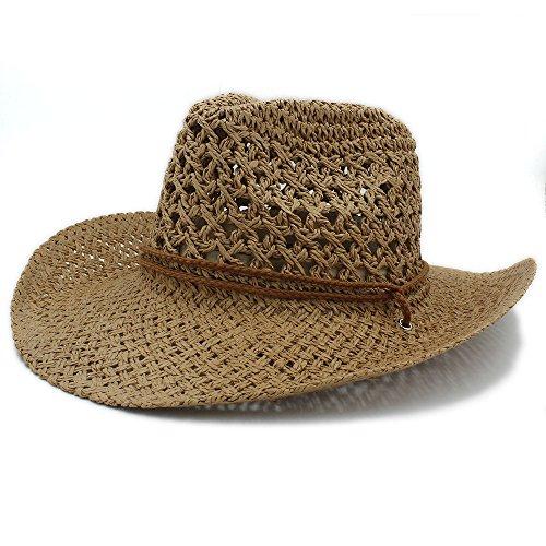 No-branded HOUJHUS Sombrero de Vaquero de Paja de Toquilla de los Hombres de Verano for Caballero Panamá Sombreros de Jazz (Color : Beige, Size : 58cm)