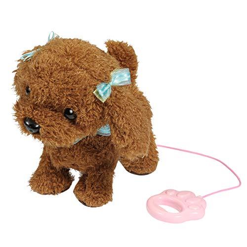 RuiDaXiang Elektronische Haustiere Hund,Kids Walking und Bellen Plüschhund Toy Pet mit Ferngesteuerter Leine (Braun-Toay)