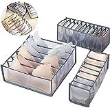 Unterwäsche Schublade Organizer, Set von 3 faltbare Schublade Teiler, zusammenklappbare Aufbewahrungsboxen, Schrank Schrank Organisatoren, perfekt für Dessous, Unterwäsche, BH, Socken und Schals
