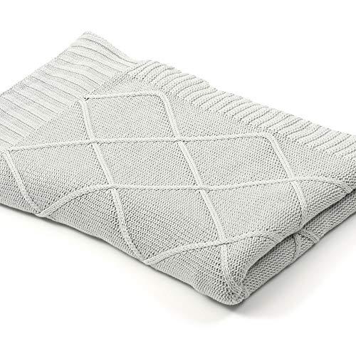 Sanddollar kuschelige, geschmeidige Strick Decke Plaid für Couch, Sofa, Bett, ungebleichte Baumwolle Öko-Tex Zertifiziert, als Babydecke geeignet, 150 x 200 cm (Grau)