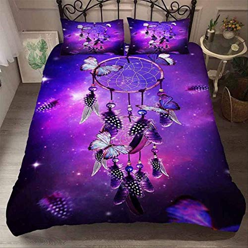 Double Duvet Set, 3D Printing Wolf Animal Feather Dreamcatcher Duvet Cover Set And Pillowcase Bedding Sets