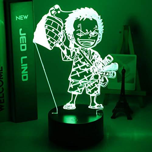 Anime ONE PIECE Luz de noche LED Roronoa Zoro Figura Luz de noche para niños Decoración de dormitorio infantil Mesa Usb Lámpara 3d Regalo, 16 colores con control remoto, I