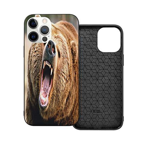 Funda para iPhone 12 Pro Max de 6,7 pulgadas, diseño de oso Grizzly marrón suave antideslizante TPU