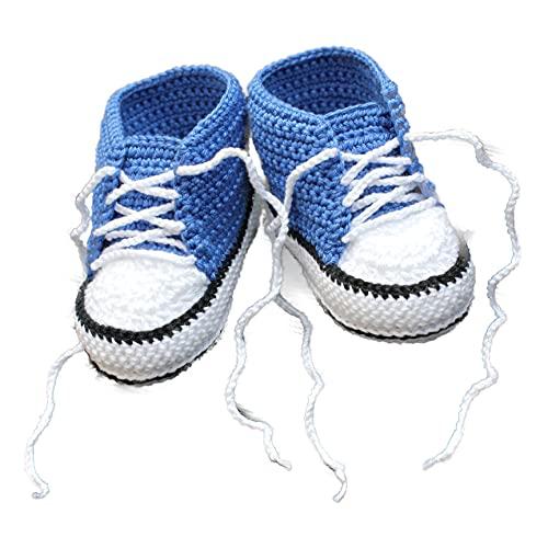 Babyschuhe blau gehäkelt 6-12m Babychucks Häkelschuhe Babysneakers für Neugeborene Jungen handgemacht
