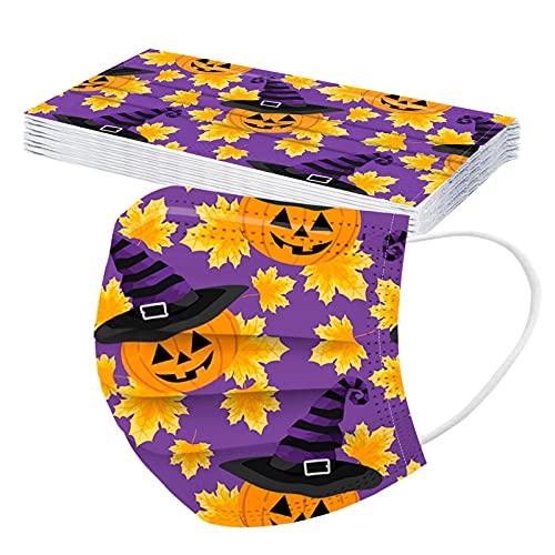 10PCS Children Halloween 3Ply Dustproof Shield for Kids Cute Halloween Breathable Bandanas for Boys Girls (B, M)