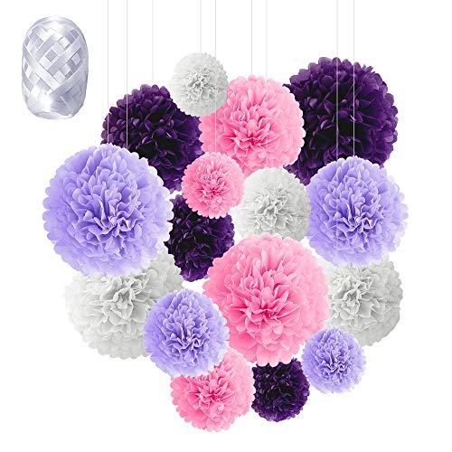 Flores de Pompones, Speyang Pompones de Papel de Seda, Flores Papel Seda, Papel Bolas, 16 Piezas para Decoración de Cumpleaños, Festivalesbodas, Baby Shower, 6'', 8'', 10'', 12'' (púrpura)