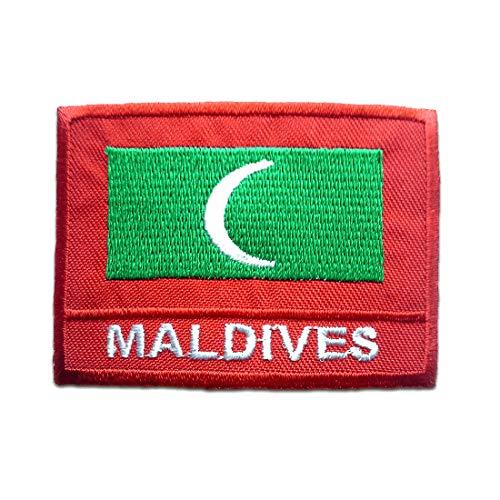 Malediven Flagge Fahne - Aufnäher, Bügelbild, Aufbügler, Applikationen, Patches, Flicken, zum aufbügeln, Größe: 4,9 x 6,9 cm