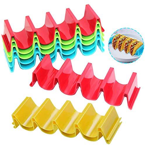 8 Stück Taco-Halterung, Taco Halter Stand, Taco-Halter Aus Kunststoff, Abs-Kunststoff Taco-Halter Jeweils Bis für 4 Tacos Für Restaurant, Zuhause, Picknick, Party, Festivals (4 Farben)