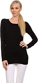 Ambiance Apparel Sexy Cotton Crew Neck Long Sleeve T-Shirt