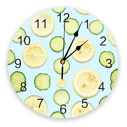 Silencioso Reloj de Pared de PVC Redondo Que no Hace tictac, rebanadas de limón Fresco de Verano, pie de Pepino, Cuarzo Verde, Relojes de Pared con Pilas para Cocina, Sala de Estar,