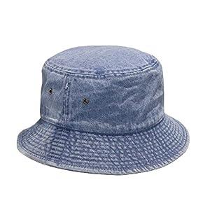 Short Brim Visor Cotton Bucket Sun Hat Light Denim Blue Large/X-Large