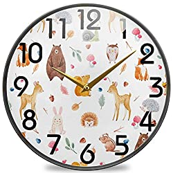 Naanle Cute Forests Animal Deer Squirrel Fox Bear Owl Hedgehog Round Wall Clock, 12 Inch Silent Battery Operated Quartz Analog Quiet Desk Clock for Home,Office,School,Cafe