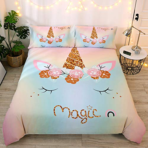 DEERHOME Magic Emoji Rainbow Unicorn Bedding Girls Duvet Cover Sets with Charming Eyes Floral...