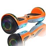 Huanhui Skateboard Électrique 6.5 Pouces Puissance 2 * 300W avec LED, Gyropode Auto-Équilibrage de Bonne qualité pour Enfants et Adultes, Orange