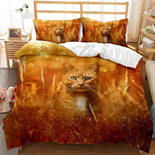 QIAOJIN Juego de ropa de cama 3D de gatos y perros, 100% microfibra, estampado de animales en 3D, bonita funda nórdica y funda de almohada con cremallera, para niños y niñas (135 x 200)