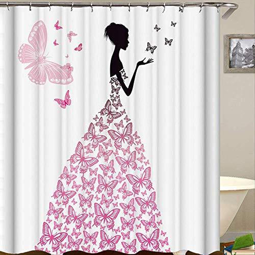 Huishuo Home Wasserdicht Mehltau Schmetterling Mädchen Digitaldruck Duschvorhang Mai