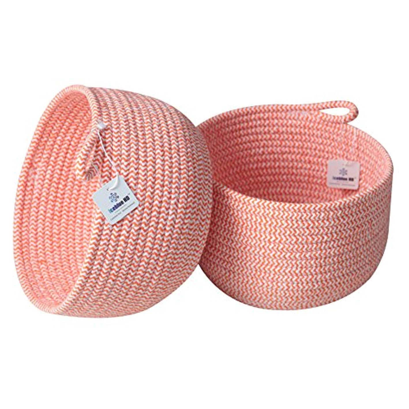 Iceblue Natural 100% Cotton Rope Holiday Storage Basket Candy,Cookie,Flower Basket,Home Decor Storage Box Bins Party,Wedding,Birthday Sets 2