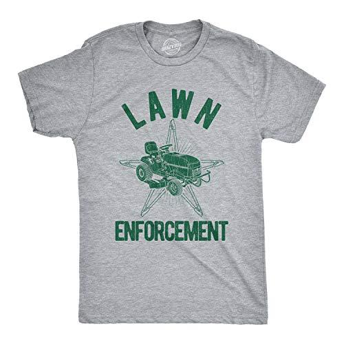 Crazy Dog T-Shirts Mens Lawn Enforcement Tshirt Funny Lawnmower Police Cop Tee (Heather Grey) - L