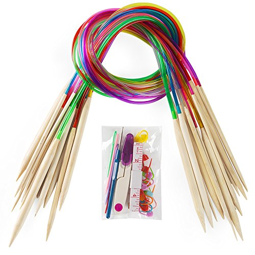 """18 Pairs Bamboo Knitting Needles Set, Vancens Circular Wooden Knitting Needles with Colorful Plastic Tube, Small Tools for Weave are Included, 18 Sizes: 2mm - 10mm, 31.5"""" Length"""