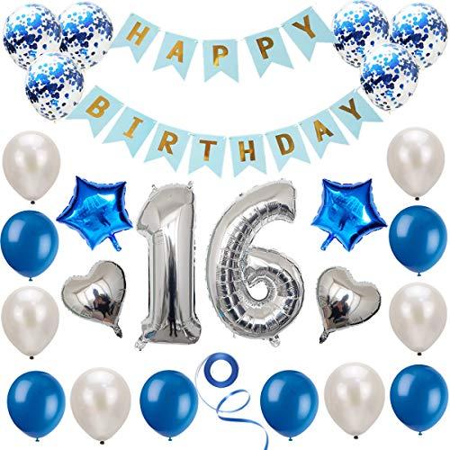 Haosell 16 Geburtstag Dekoration Set Silber Blau, Geburtstagsdeko, Geburtstagsfeier Dekoration, Happy Birthday Banner, 16 Jahre Alte Silber Zahlen Luftballons Deko für Mädchen, Jungen, Frauen, Männer
