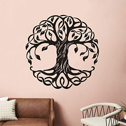 Mandala Circle Trees Pegatinas de pared Yoga Studio Calcomanías de vinilo Decoración del hogar Yoga Tree Decoración de pared Tree Of Life Murales de pared A1 57x57cm