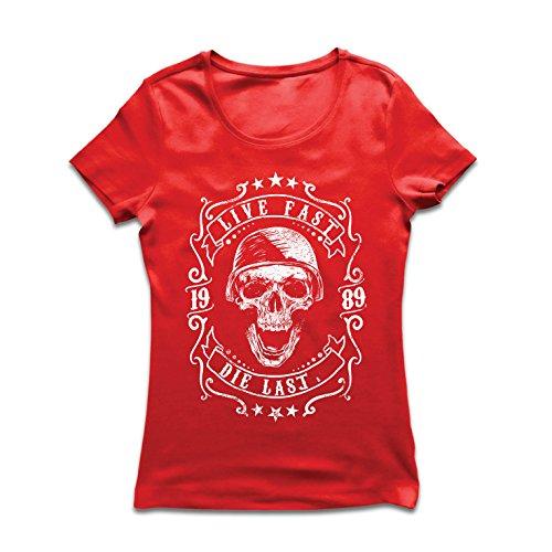 lepni.me Frauen T-Shirt Lebe schnell - stirb zuletzt, Fahrradermine, Motorradbekleidung, Liebe zum Fahren, tolles Geschenk für Biker (Medium Rot Mehrfarben)