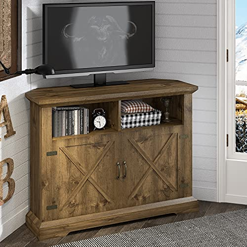 HOOMIC 44'' Modern Farmhouse Corner TV Stand for TVs Up to 50 Inches, TV Console Table with Storage Cabinets, Buffet Cabinet with 2 Doors & Shelves for Living Room, Corner Universal, Rustic Oak