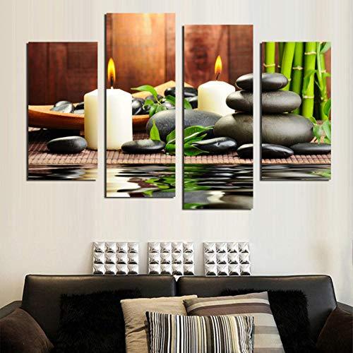 4 Stks Schilderij Bedrukte Witte Kaars en Stenen Doek Woonkamer Decor Print Poster Picture Canvas/40X80Cmx2 40X100Cmx2 Geen Frame