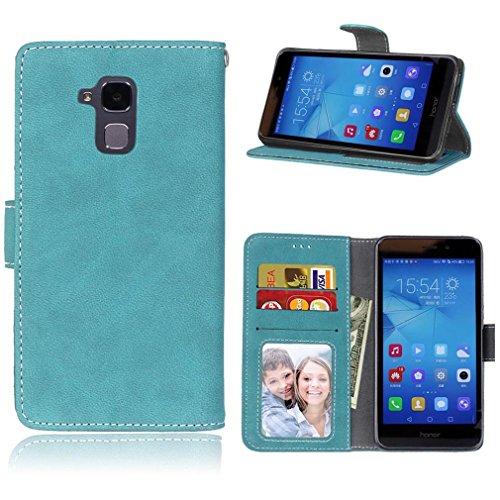 LMAZWUFULM Hülle für Honor 5C / Honor 7 Lite/Huawei GT3 (5.2 Zoll) PU Leder Magnet Brieftasche Lederhülle Gefrostet Design Standfunktion Ledertasche Flip Cover Blau