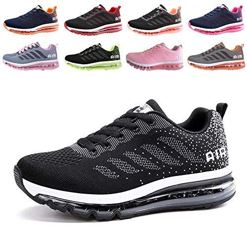 populalar Herren Damen Turnschuhe Laufschuhe Sportschuhe Straßenlaufschuhe Sneakers Atmungsaktiv Trainer Running Fitness Gym Outdoor Leichte Black White 43