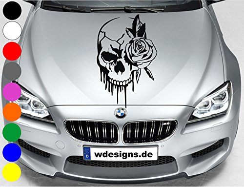 wDesigns Autoaufkleber Totenkopf Rose Skull Aufkleber Motorhaube Sticker Heckscheibe