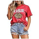 Qigeran - Camiseta de tirantes para mujer, diseño de leopardo, sin mangas, con estampado de leopardo, sin mangas, con texto en inglés Rojo rosso XL