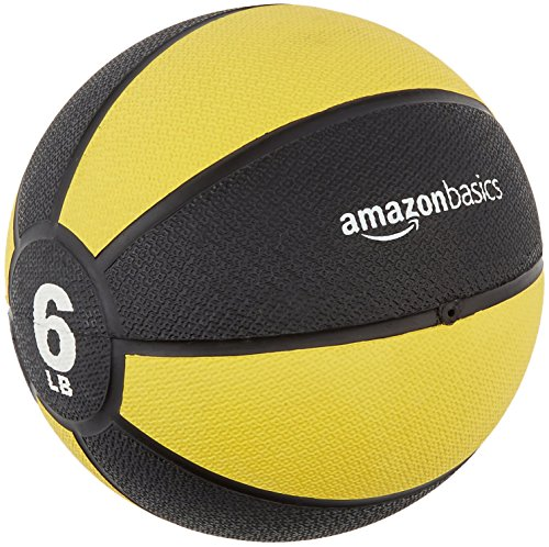 AmazonBasics Workout Fitness Exercise Weighted Medicine Ball - 6 Pounds, Yellow and Black