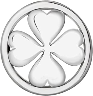 Quiges Women's Silver Plated Interchangeable 33mm Pendant Coin Four-Leaf Clover Shape for Necklace Locket